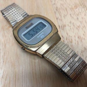 vintage bulova mens gold tone barrel lcd digital watch hours~date~ battery
