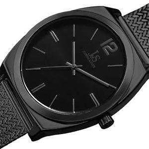 mens joshua amp; sons jx124bk quartz movement stainless steel mesh bracelet watch