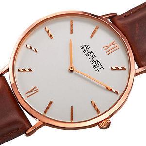mens august steiner as8166rgbr ultra slim quartz genuine leather strap watch