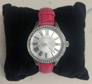 nautica pink leather jeweled watch a12651m