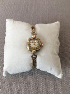 【送料無料】vintage antique filigree ladies bulova 10k roll gold filled watch 17 jewel works