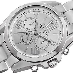 womens akribos xxiv ak693ss swiss quartz multifunction silvertone watch