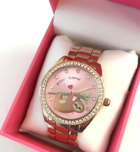 【送料無料】betsey johnson slowering it down sloth bear rose gold bracelet watch bj00685 nwt