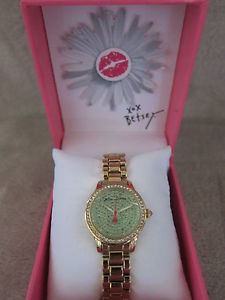 betsey johnson gold tone amp; green tiny time crystal embellished case watch nwb