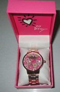 【送料無料】betsey johnson~nib womens pink flowertime goldtone watch bj0049877