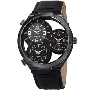 mens joshua amp; sons jx118bk two time zones small seconds leather strap watch