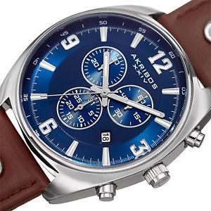 mens akribos xxiv ak969brbu chronograph swiss quartz leather strap watch