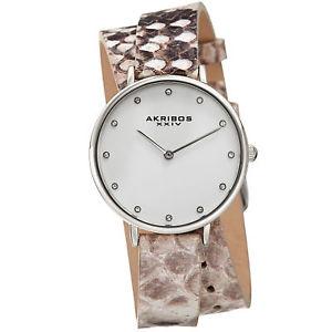 womens akribos xxiv ak923ssgy swarovski wraparound leather lizard pattern watch