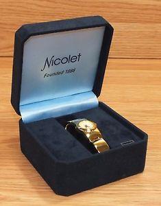 genuine nicolet nc2044 gold tone water resistant womens wrist watch *read*