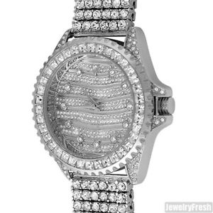 silver princess cut bezel designer iced out luxury watch