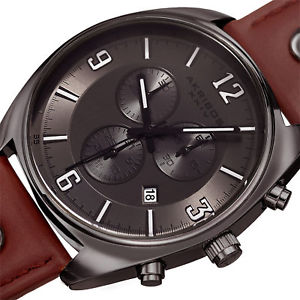 mens akribos xxiv ak969gn chronograph swiss quartz movement leather strap watch