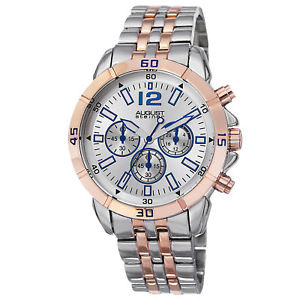 mens august steiner as8111ttr quartz chronograph twotone bracelet watch