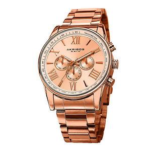 【送料無料】mens akribos xxiv ak736rg swiss quartz multifunction tachymeter rosetone watch:hokushin