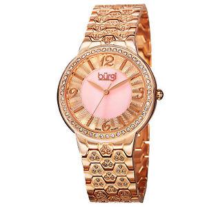 womens burgi bur115rg swiss quartz crystals accented mop rosetone watch