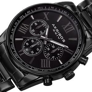 akribos xxiv akr865bk mens multifunction tachymeter steel bracelet watch