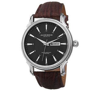 生まれのブランドで 【送料無料】mens akribos xxiv ak726br quartz day amp; date brown genuine leather strap watch, HandB.Safa 3313ea0c