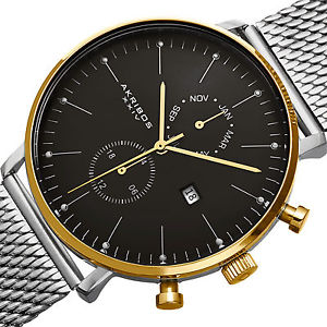 mens akribos xxiv ak685ssg swiss quartz daymonth stainless steel mesh watch