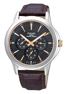 pulsar gents leather strap calendar watch  pp6019x1