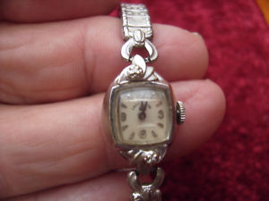 【送料無料】vintage watch  lady elgin brand usa 14k white gold case working
