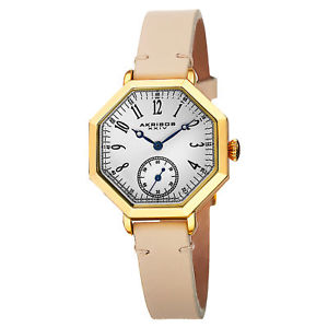 【送料無料】 womens akribos xxiv ak771tn quartz octagon case tan genuine leather watch