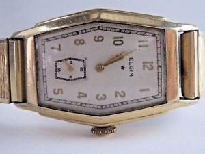 vintage 10k gold filled elgin 15 jewel mens  wristwatch runs