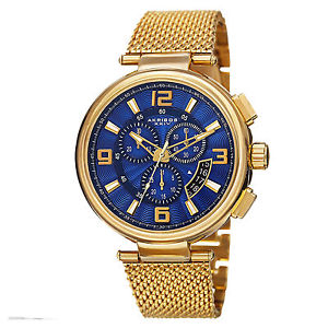 mens akribos xxiv ak772ygbu swiss chronograph goldtone stainless steel watch