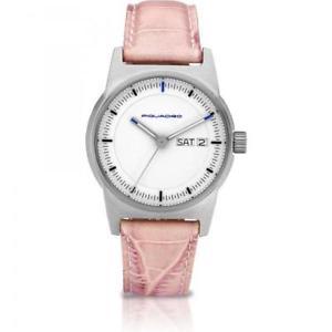 【送料無料】orologio donna piquadro po109 vera pelle rosa bianco made in italy sub 50mt fiv