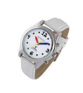 【送料無料】best women rnib highview radio controlled talking white leather strap watch