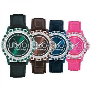 【送料無料】orologio donna liu jo luxury baguette vera pelle swarovski 10 colori lady dd