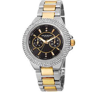 【送料無料】womens akribos xxiv ak789ttgb crystal bezel date swiss quartz bracelet watch