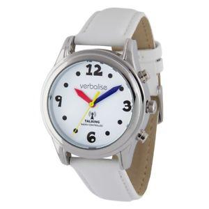best women rnib highview radio controlled talking white leather strap watch