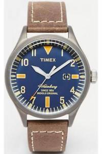 【送料無料】orologio uomo timex the waterbury tw2p83800 pelle marrone blu classico 50mt