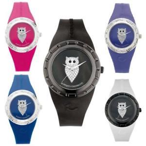 【送料無料】orologio roberto giannotti misteri della notte civetta swarovski bianco nero blu