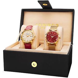 【送料無料】akribos xxiv ak973rds women's leather strapstainless steel bracelet watch set
