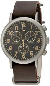 【送料無料】orologio timex weekender tw2p85400 chrono pelle marrone nero indiglo vintage