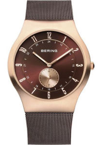 【送料無料】bering mens classic rose gold stainless steel milanese mesh watch 11940265