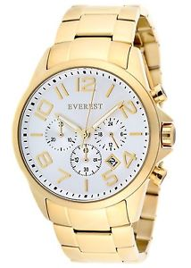 【送料無料】everest mens es30093 chronograph watch gold tone white