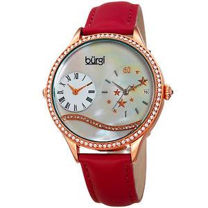 【送料無料】womens burgi bur184rd crystal dual time mother of pearl red leather strap watch
