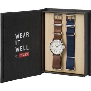 【送料無料】orologio cinturino timex weekender twg012500 pelle marrone tessuto blu vintage