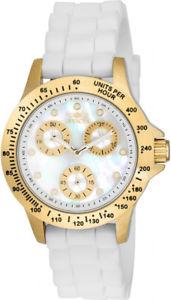 【送料無料】invicta womens speedway chrono 100m gold tone case white silicone watch 21985