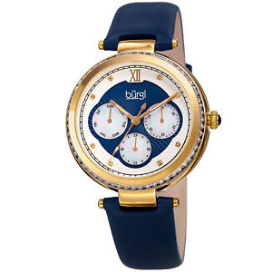 【送料無料】womens burgi bur182bu multifunction crystal gold tone blue leather strap watch