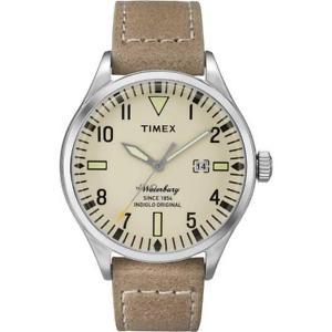 【送料無料】orologio uomo timex the waterbury tw2p83900 pelle marrone beige sabbia
