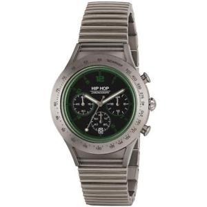 【送料無料】orologio uomo hip hop aluminium hwu0734 chrono bracciale alluminio verde 42mm