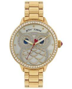 betsey johnson womens owl goldtone bracelet watch 20mm