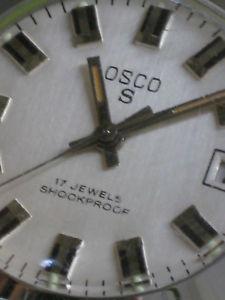【送料無料】osco s 17 jewels mit datumsanzeige, handaufzug, 70er jahre