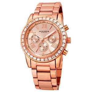 【送料無料】womens akribos xxiv ak943rg 24 hour indicator swarovski crystal bezel watch