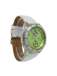 【送料無料】guess steel 85476l6 womens white leather lime date 12 amp; 24 hour analog watch