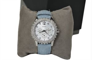 【送料無料】guess ladies dazzler watch w0336l7 blue strap with gemstone surround
