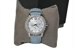 【送料無料】guess ladies dazzler watch w0336l7 blue strap with gemstone surround