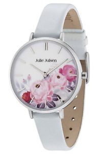 【送料無料】julie julsen damenuhr flower silver light blue jjw11sl4